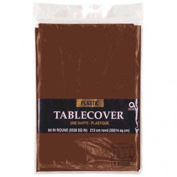 Chocolate Brown Round Plastic Table Cover 84""