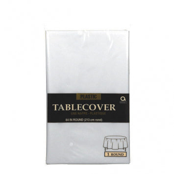 Clear Round Plastic Table Cover 84""