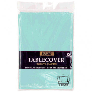 Robin's Egg Blue Round Plastic Table Cover 84""