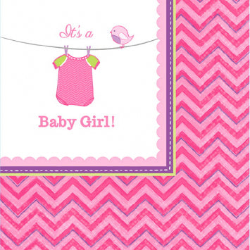 Shower with Love Girl Beverage Napkins 16ct.