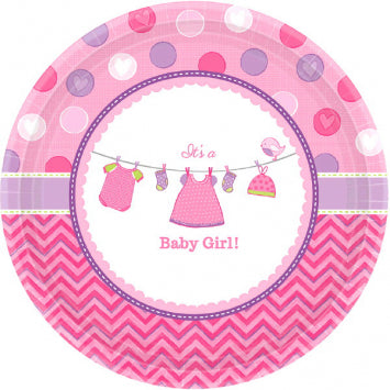 "Shower with Love Girl 7"" Round Plates 8ct."