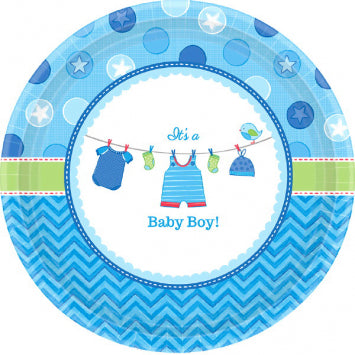 "Shower with Love Boy Round Plates, 7"" 8ct."