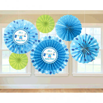 Shower with Love Boy Paper Fan Decorations 6ct.