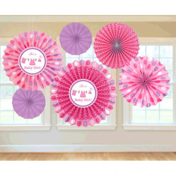 Shower with Love Girl Paper Fan Decorations 6ct.