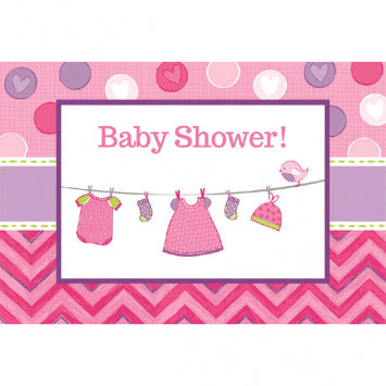 Shower with Love Girl Postcard Invitations 8ct.