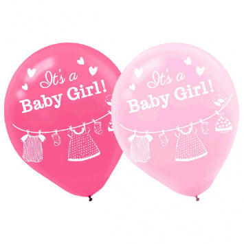 Shower with Love Girl Latex Balloons 15ct.