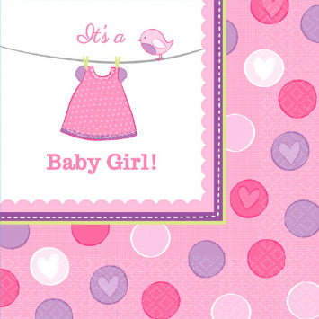 Shower with Love Girl Luncheon Napkins 16ct.
