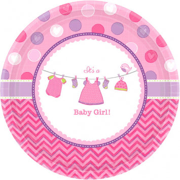 "Shower with Love Girl Round Plates, 10 1/2"" 8ct."