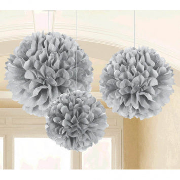 Silver Fluffy Tissue Decorations 3ct.