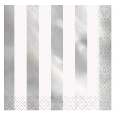 Silver Foil Striped Lunch Napkins 16ct.