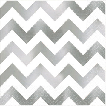 Silver Chevron Hot Stamp Luncheon Napkins 16ct.