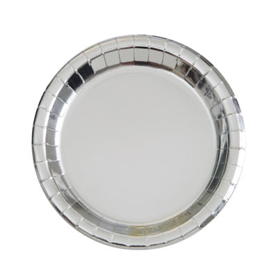 "Silver 7"" Round Plates 8ct."