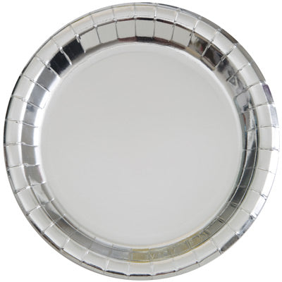 "Silver 9"" Round Plates 8ct."