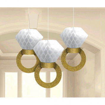 Honeycomb Ring Hanging Decorations 3ct.