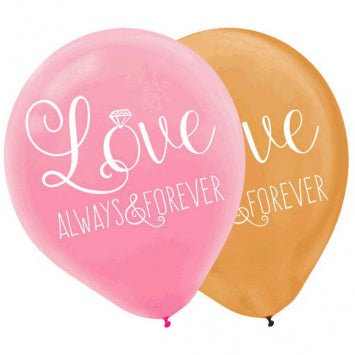 Sparkling Wedding Love, Always & Forever Latex Balloons 6ct.