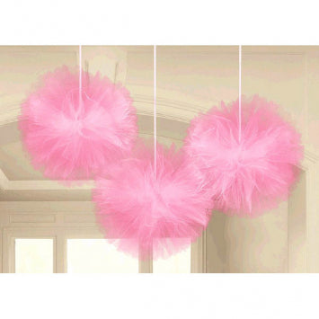Pink Tulle Fluffy Decorations 3ct.