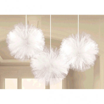 White Tulle Fluffy Decorations 3ct.