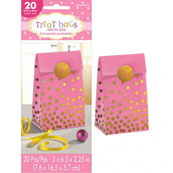 Baby Girl Foil Stamped Bags w/Stickers 20ct.