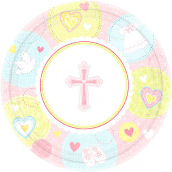 "Sweet Christening Pink 7"" Round Plates 8ct."