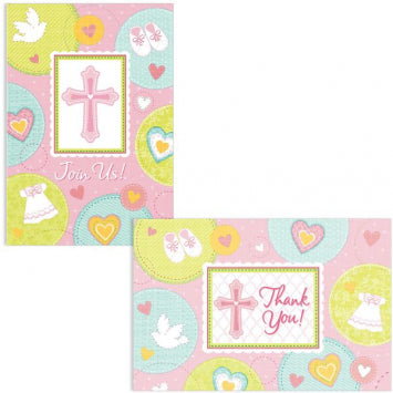 Sweet Christening Pink Invite & Thank You Card Set 8 of each