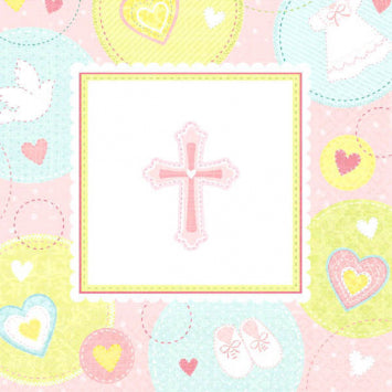 Sweet Christening Pink Luncheon Napkins 16ct.