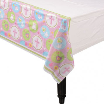 Sweet Christening Pink Plastic Table Cover