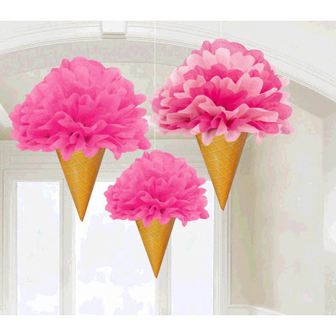 Sweet Stuff Ice Cream Fluffy Decorations - Tissue & Paper 3ct.
