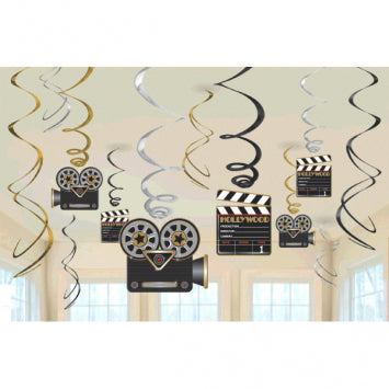 Lights! Camera! Action! Value Pack Foil Swirl Hanging Decorations 12ct.