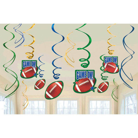 Football Hanging Foil Swirl Decoration Value Pack