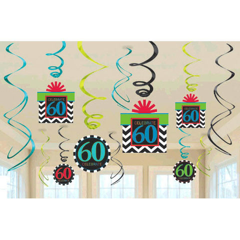 60th Celebration Value Pack Swirl Decorations 12ct.