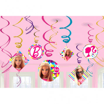 Barbie Sparkle Value Pack Foil Swirl Decorations 12ct.