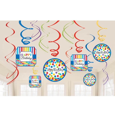 Bright Birthday Value Pack Foil Swirl Decorations 12ct.