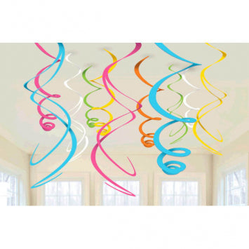 Multi Color Plastic Swirl Decorations 12ct.
