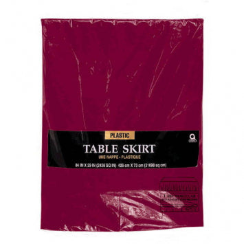 Berry Solid Color Plastic Table Skirt 14' x 29""