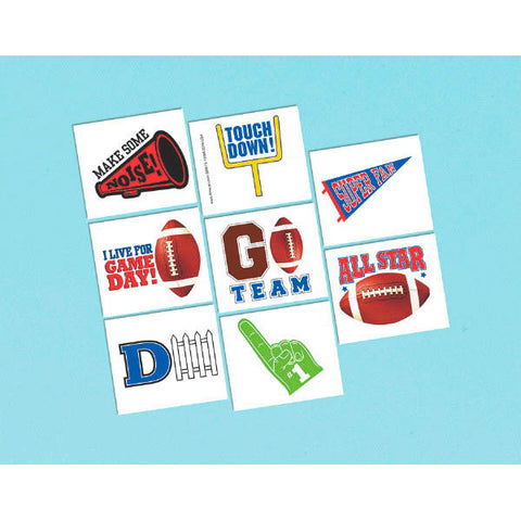 Football Tattoo Favors 1 Sheet 8ct.