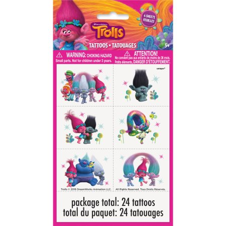 Trolls Tattoo Sheets 4ct.