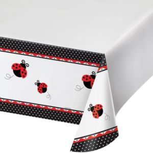 "Ladybug Fancy Plastic Tablecover 54""x108"", Border Print 1ct."