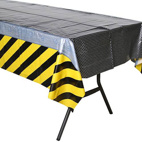 Construction Birthday Zone Plastic Tablecover