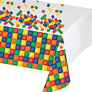 "Block Party Plastic Tablecover 54""x102"""