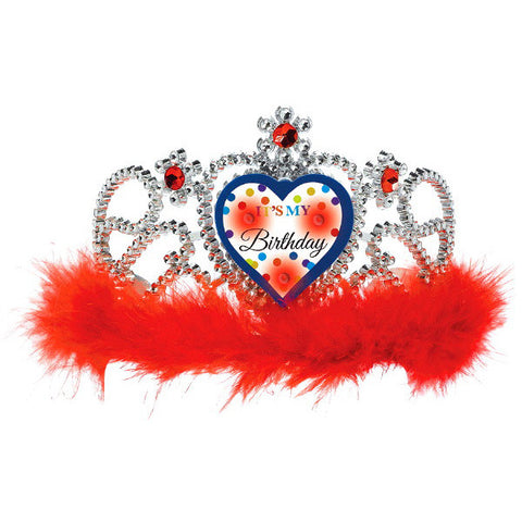 Bright Birthday Light Up Tiara w/Marabou
