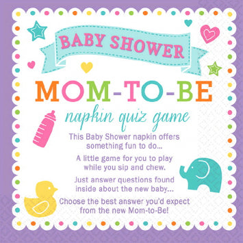 Baby Shower Trivia Napkins 2 to 24 Players