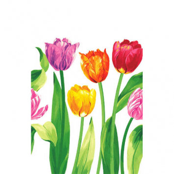 Bright Tulips Plastic Table Cover