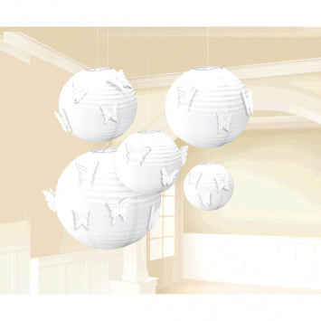 White Bridal Paper Lanterns w/ Butterfly Attachment 5ct.