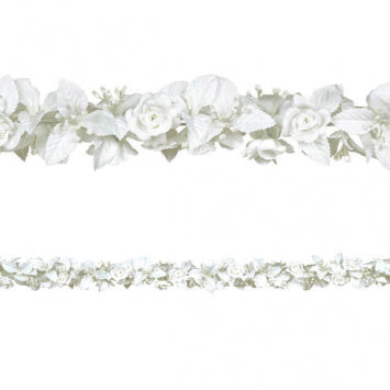 White Bridal Rose & Leaf Garland
