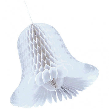 White Bridal Medium Honeycomb Bells 2ct.