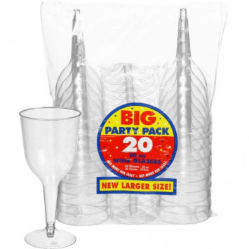 Clear 10oz. Plastic Wine Glasses 20ct.