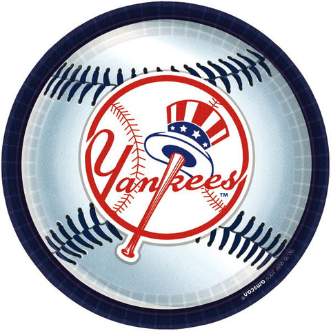 "New York Yankees Round Plates, 9"" 18ct"