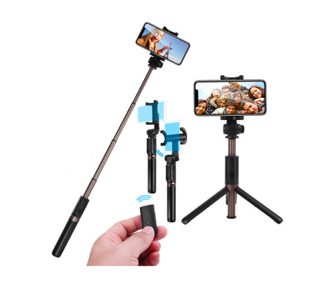 Bluetooth Selfie Stick Tripod Remote Control 360° Clamp
