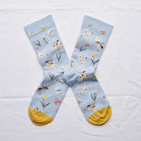 Bonne Maison Socks: Tulips and Doves