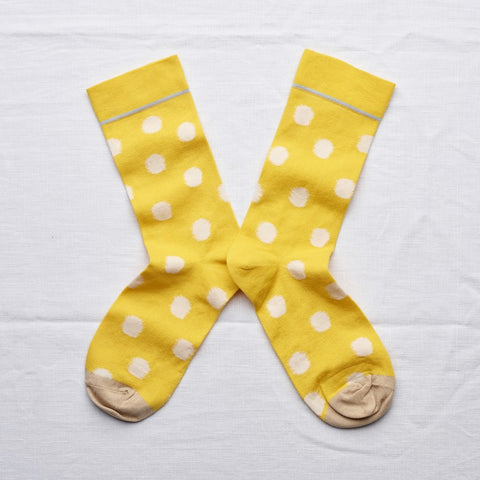 Bonne Maison Socks: Yellow Polkadots